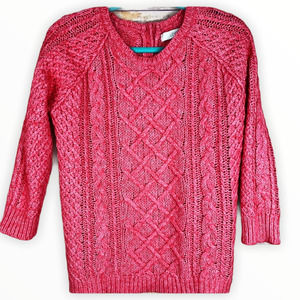 Loft Braided Long Sleeve Cable Knit Sweater